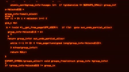 html : Orange Hacker Text Code on Screen Motion Graphic Background V2 Stock Footage