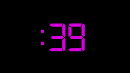 パープル : 2D Purple 60 Seconds Digital Countdown Motion Graphic Element 動画素材