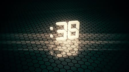 секунды : 3D White 60 Seconds Countdown with Hexagonal Floor Background V2