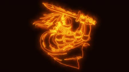 gladiador : Orange Burning Knight Warrior Animated Logo with Reveal Effect Vídeos