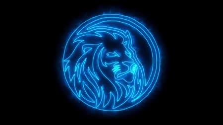 mascot : Blue Lion Head Animated Logo with Reveal Effect