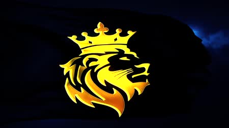 Golden Lion King Flag Intro Logo con fondo azul Archivo de Video