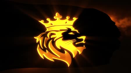 Golden Lion King Flag Intro Logo Motion Background Archivo de Video