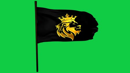 Golden Lion King Flag Elemento Gráfico Pantalla Verde