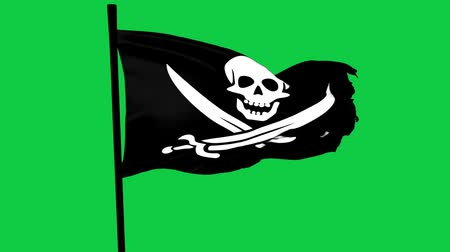 piracy : Jolly Roger Pirate Ship Flag Graphic Element Green Screen