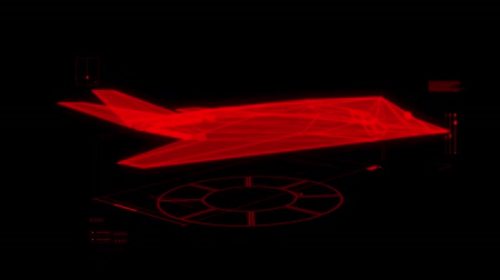 střela : 3D Red Jet Fighter HUD Interface Motion Graphic Element