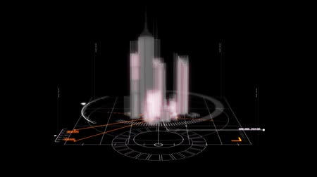 hi fi : White HUD 3D City Hologram Interface Graphic Element