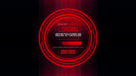 hitech : Red HUD Data Loader Interface Loopable Graphic Element V2 Stock Footage