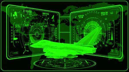 истребитель : 3D Green Jet Fighter HUD Interface Motion Graphic Element