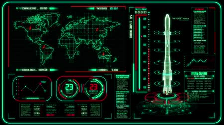 indicador : 3D Red Green HUD Rocket Interface Motion Graphic Element