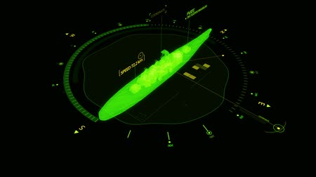 hi fi : Green HUD 3D Ship Hologram Interface Graphic Element