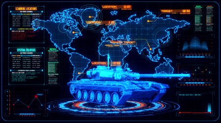 armoured : 3D Blue Orange Tank HUD Interface Motion Graphic Element Stock Footage