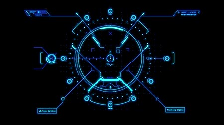 crosshair : Blue HUD Weapon Interface Motion Graphic Element Stock Footage