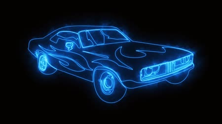 arrasto : Blue Burning Muscle Car Animated Logo Element with Reveal Effect