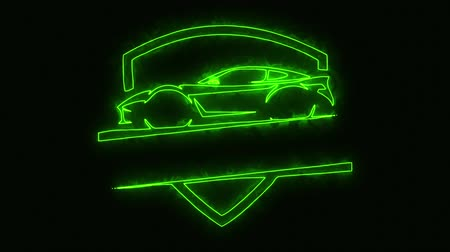 гонка : Green Sport Car Animated Loop Graphic Element Стоковые видеозаписи