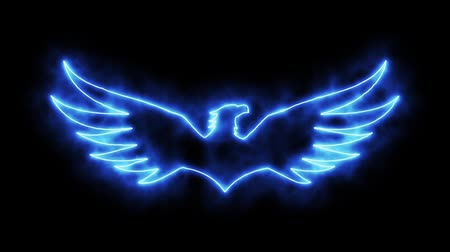 tatoo : Blue Burning Eagle Animated Loopable Graphic Element Stock Footage