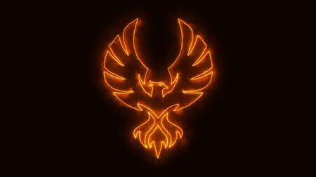 anka kuşu : Orange Burning Phoenix Animated Element with Reveal Effect Stok Video