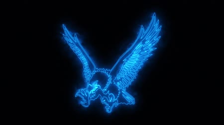 tatoo : Blue Burning Eagle Loopable Graphic Element Stock Footage