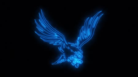 tatoo : Blue Burning Eagle Animated Logo Loop Graphic Element Stock Footage