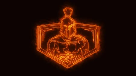 legion : Burning Spartan Warrior Animated Logo Loop Graphic Element