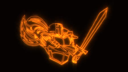 gladiador : Gold Burning Knight Warrior Animated Logo Element Loopable