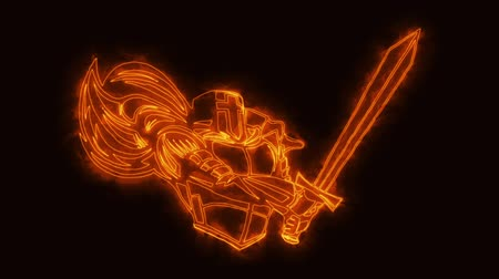legion : Orange Burning Knight Warrior Animated Element Loopable Stock Footage