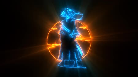 samuraj : Orange Blue Samurai Warrior Animated with Reveal Effect & Light Rays