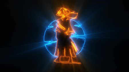 マスコット : Orange Blue Samurai Warrior Animated with Reveal Effect & Light Rays