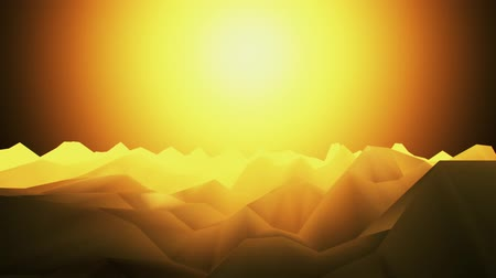 iluminado pelo sol : 3D Orange Low Poly Mountains Loopable Background Forward Motion Stock Footage