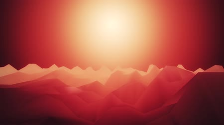 iluminado pelo sol : 3D Red Low Poly Mountains Loopable Background Forward Motion Vídeos