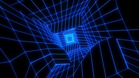 w : 3D Blue Sci-Fi Digital Tunnel Loopable Motion Background