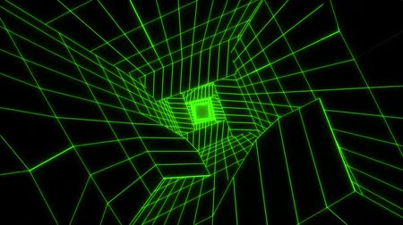 w : 3D Green Sci-Fi Digital Tunnel Loopable Motion Background
