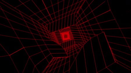 w : 3D Red Sci-Fi Digital Tunnel Loopable Motion Background
