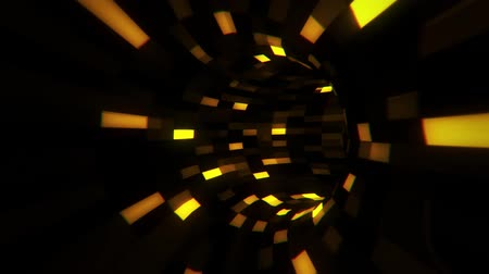 tekno : 3D Gold Sci-Fi Arificial Intelligence Tunnel - VJ Loop Motion Background