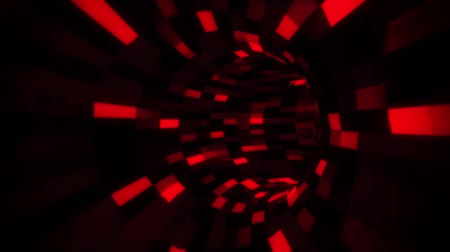quantum computer : 3D Red Sci-Fi Arificial Intelligence Tunnel - VJ Loop Motion Background