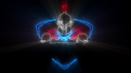 harcos : Colorful Spartan Warrior Animated with Reveal Effect & Light Rays Stock mozgókép