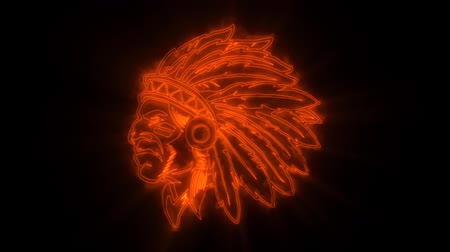 mascot : Orange Indian Warrior Animated with Reveal Effect