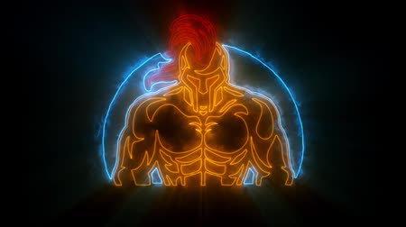 zbroja : Colorful Spartan Warrior Animated with Reveal Effect & Light Rays Wideo