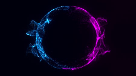 concêntrico : Blue Fuchsia Particles Circle Ring Intro Motion Background
