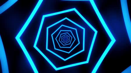 urdidura : Blue Neon Hexagons Tunnel VJ Loop Motion Graphic Background Stock Footage