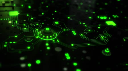 pci card : 3D Green Sci-Fi CPU Circuit Board Intro Logo Background