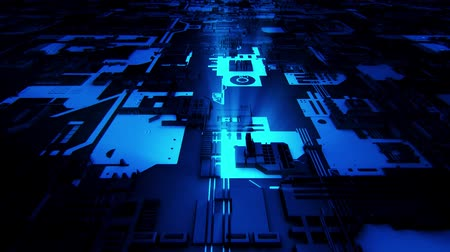 nanotechnology : 3D Blue Sci-Fi Mother Board Circuits Intro Logo Background Stock Footage