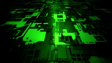 pci card : 3D Green Sci-Fi Mother Board Circuits Intro Logo Background Stock Footage