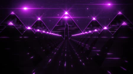 hyperspace : 3D Purple Sci-Fi Pyramids Tunnel Loop Motion Background Stock Footage