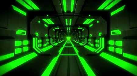 kosmická loď : 3D Green Hi-Tech Neon Tunnel Loop Motion Background
