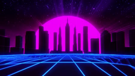 sunset city : 3D Neon Retro Synthwave City VJ Loop Motion Background Stock Footage