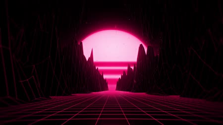 vöröses : 3D Reddish Pink Neon Retro Synthwave VJ Loop Motion Background Stock mozgókép