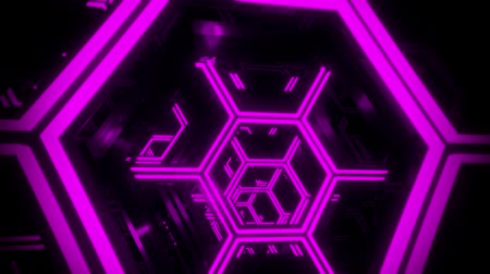 マゼンタ : 3D Purple Sci-Fi Neon Hexagons VJ Loop Motion Background