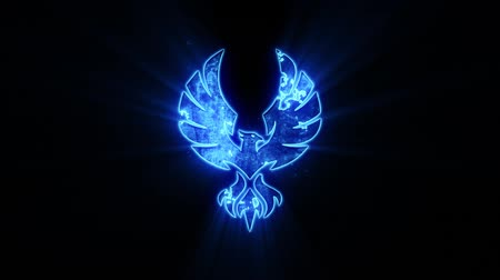 anka kuşu : Blue Eagle Phoenix Logo with Reveal Effect Graphic Element Stok Video