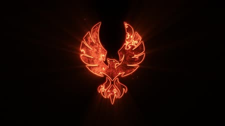 マスコット : Fire Eagle Phoenix Logo with Reveal Effect Graphic Element